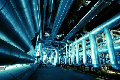 Power Plant interior with tubes and ducts